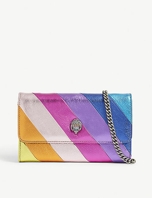 KURT GEIGER LONDON: Metallic stripe leather Kensington wallet-on-chain