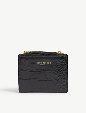 KURT GEIGER LONDON Croc-embossed small leather purse