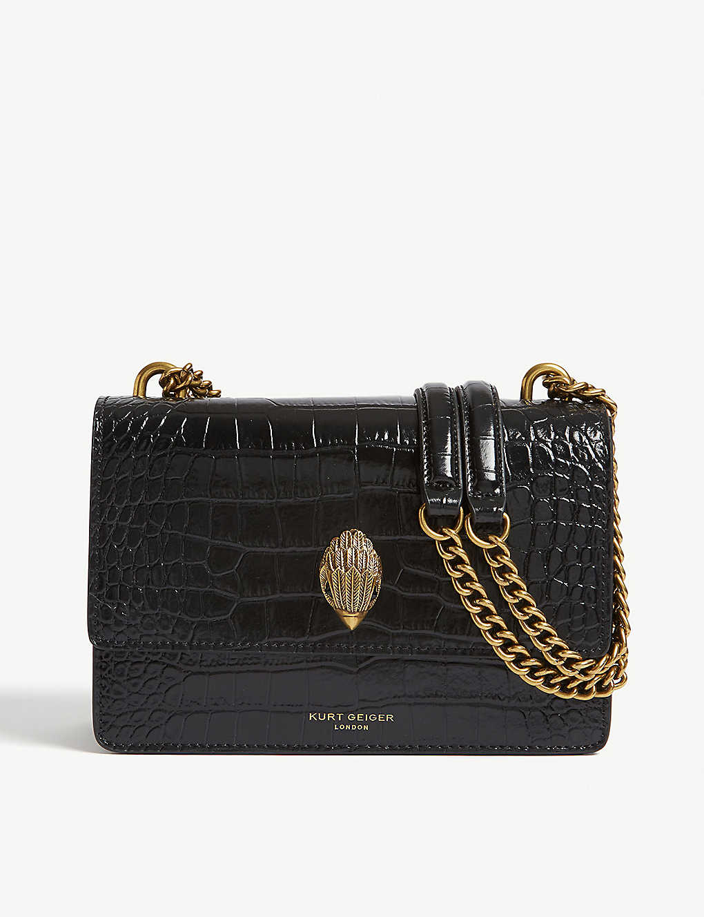 KURT GEIGER LONDON: Shoreditch croc-embossed leather cross-body bag