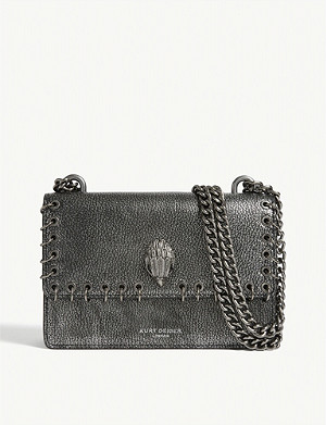 KURT GEIGER LONDON Shoreditch metallic-leather cross-body bag