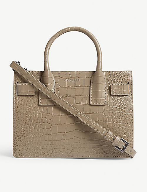 KURT GEIGER LONDON Shoreditch small croc-embossed leather tote bag