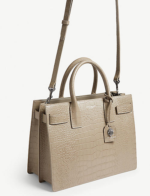 KURT GEIGER LONDON Shoreditch croc-embossed leather tote bag