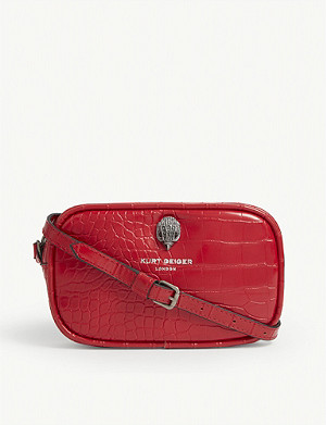 KURT GEIGER LONDON Croc-embossed leather shoulder bag