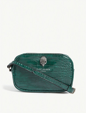 KURT GEIGER LONDON Eagle croc-embossed cross-body bag