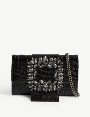 KURT GEIGER LONDON Mayfair croc-embossed leather wallet-on-chain