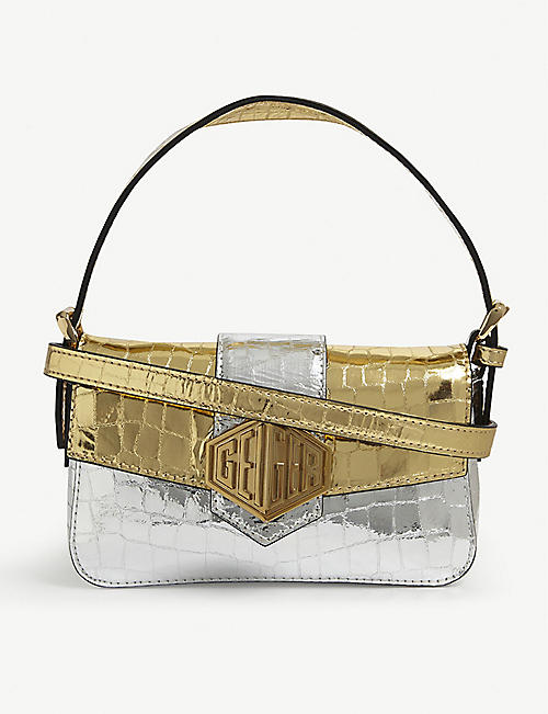 KURT GEIGER LONDON Mini metallic leather shoulder bag