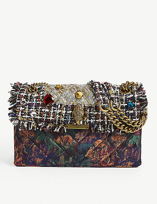 KURT GEIGER LONDON Kensington tweed jewelled shoulder bag