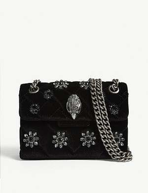 KURT GEIGER LONDON Kensington mini velvet cross-body bag