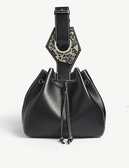 GANNI Logo-embellished small leather shoulder bag
