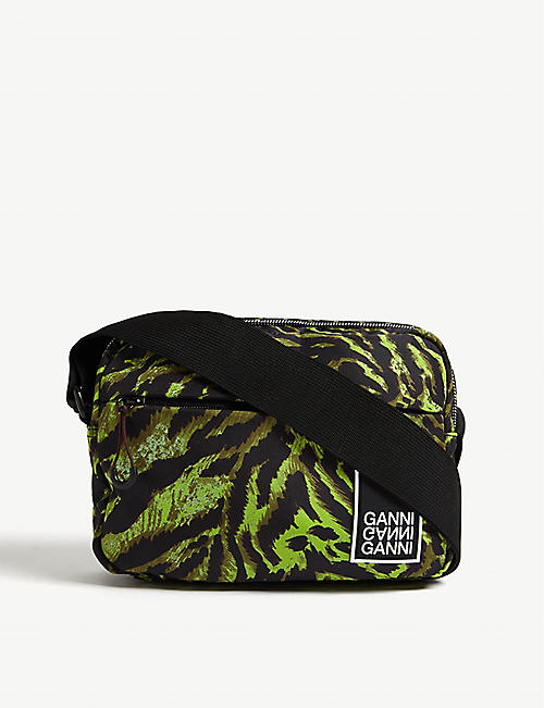 GANNI Tiger-print nylon cross-body bag