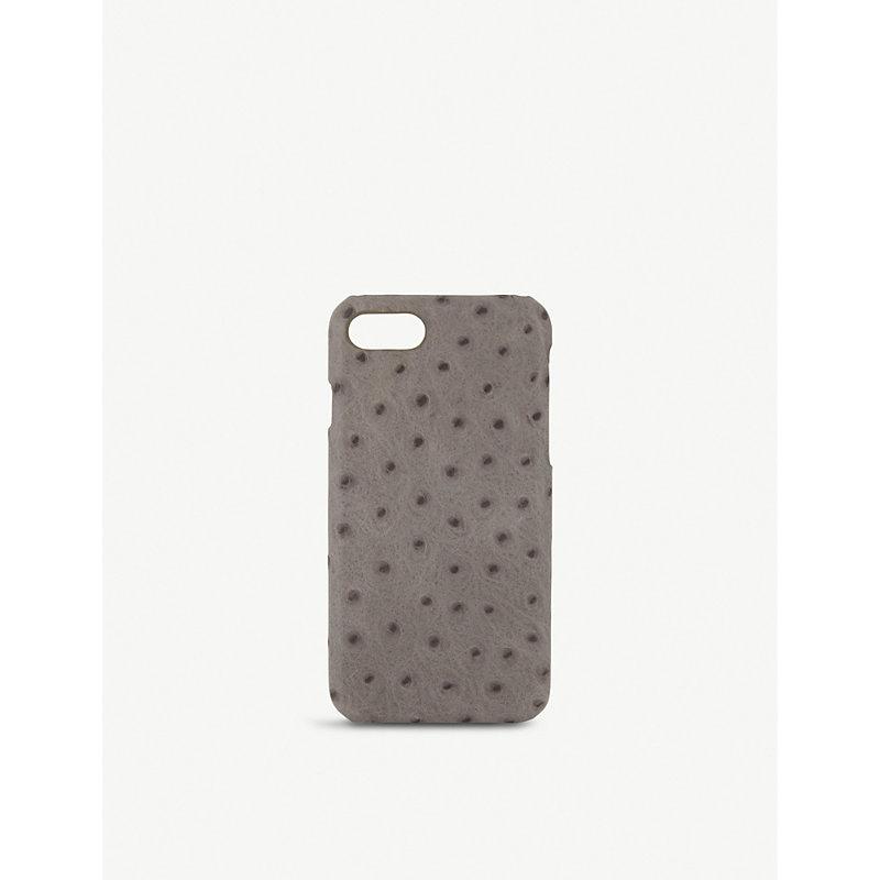 THE CASE FACTORY 鸵鸟-浮雕 皮革 Iphone 7/8 案件 in Grey
