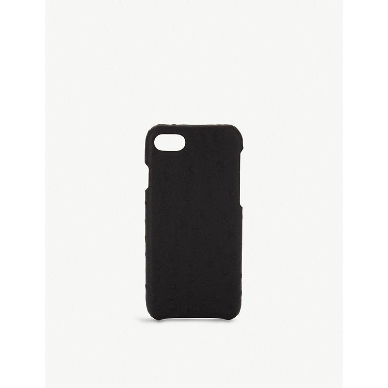 THE CASE FACTORY 鸵鸟-浮雕 皮革 Iphone 7/8 案件 in Black