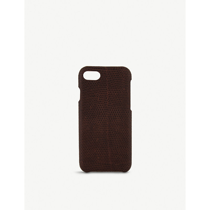 THE CASE FACTORY 蜥蜴-浮雕 皮革 Iphone 7/8 案件 in Brown
