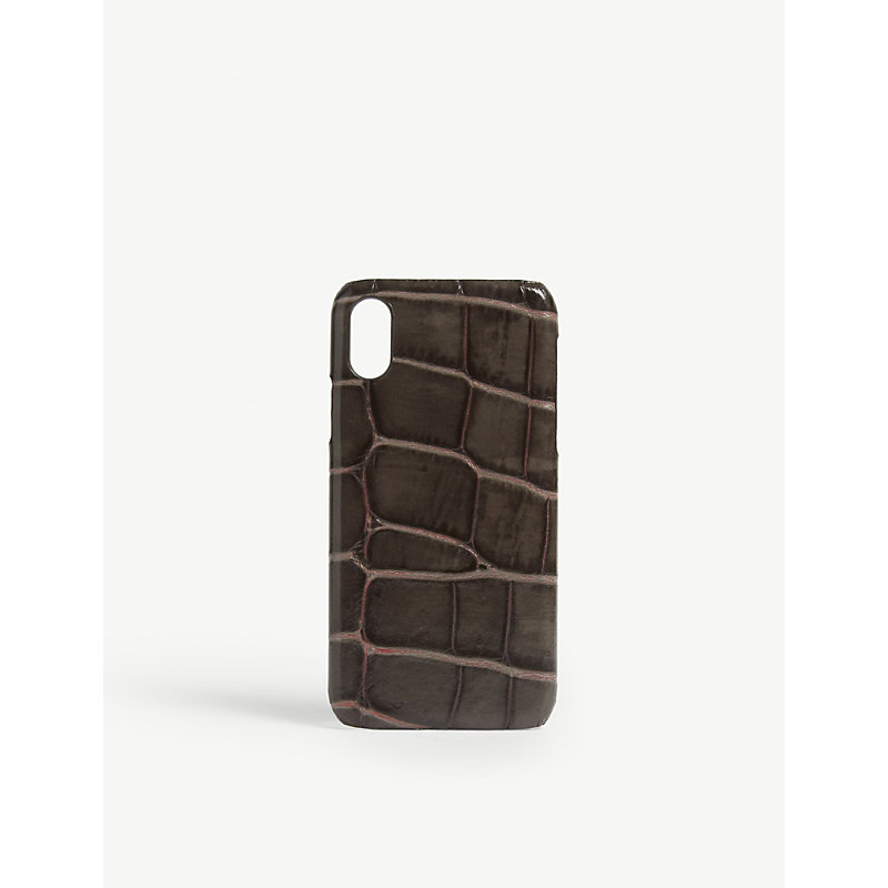 THE CASE FACTORY Croc-Embossed Iphone X Case in Taupe/Pink