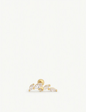 ASTRID & MIYU Crystal 18k gold-plated barbell earring
