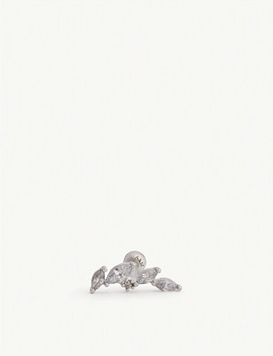 ASTRID & MIYU Crystal rhodium-plated barbell earring