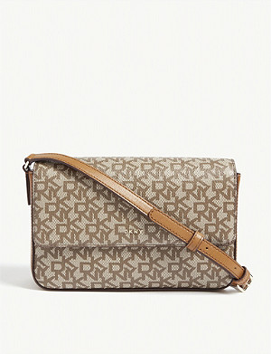 DKNY Bryant branded canvas cross-body bag