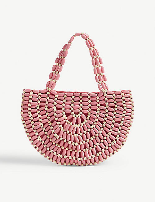 RIXO Bruna beaded wooden bag