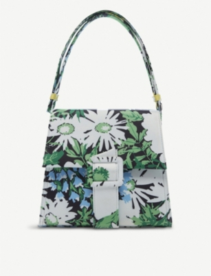 RIXO Frankie floral-print satin shoulder bag