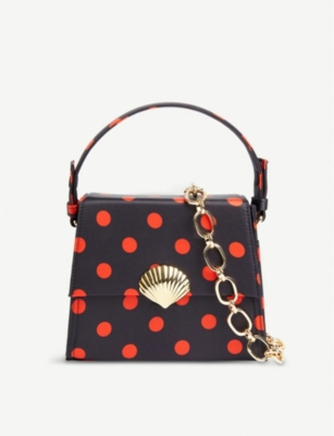 RIXO Jemima polka-dot satin top handle bag