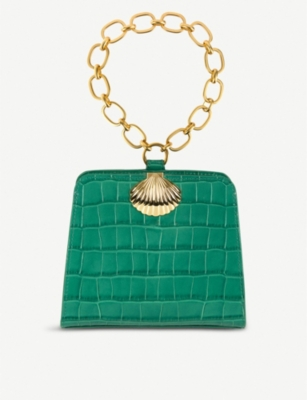 RIXO Amelie croc-embossed leather top-handle bag