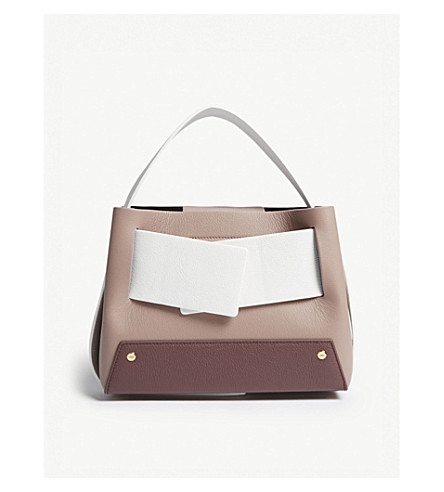 Brown And White Colour Block Biggy Leather Tote Bag, Brownrose/Bordo