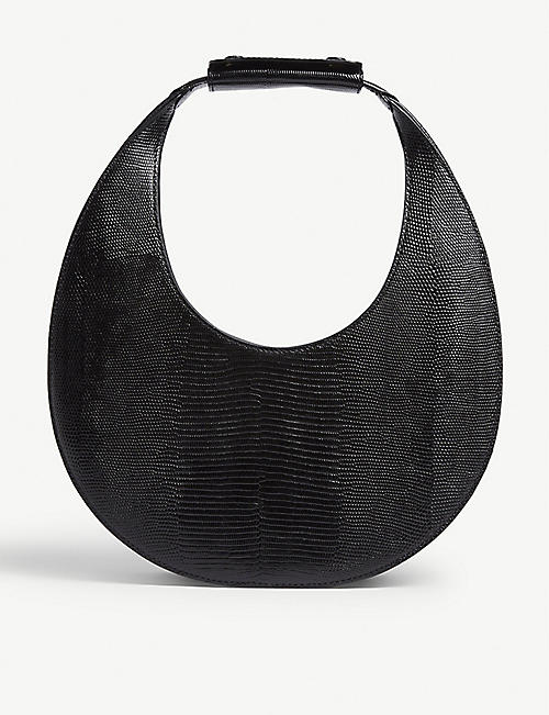 STAUD Moon lizard-embossed leather saddle bag