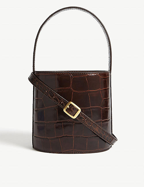 STAUD Bissett croc-embossed leather bucket bag