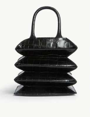 STAUD Hutton croc-embossed leather tote