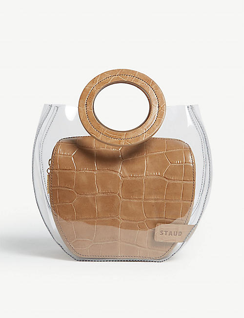 87adad273d STAUD Frida croc-embossed leather and PVC tote