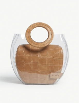 STAUD Frida croc-embossed leather and PVC tote