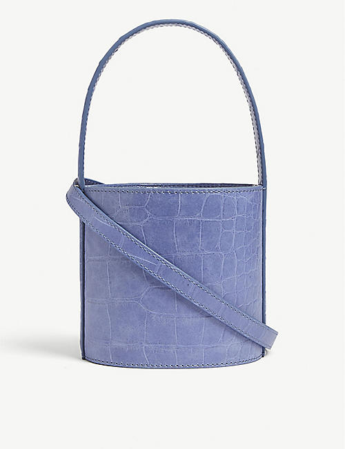 STAUD Mini Bissett croc-embossed leather bucket bag