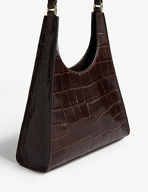 STAUD Rey small croc-embossed leather bag