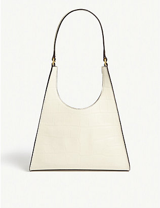 STAUD: Rey small croc-embossed leather bag