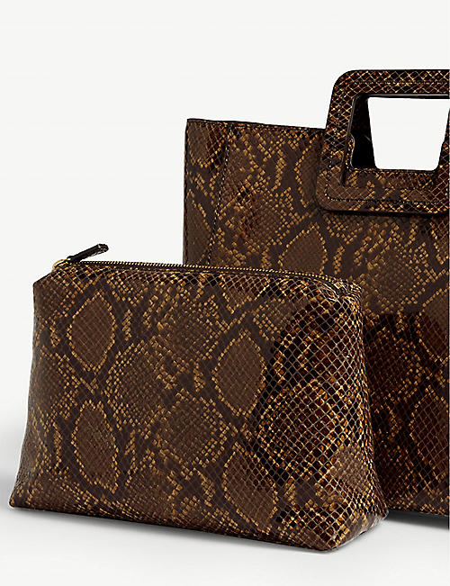 STAUD Shirley snake-embossed leather tote