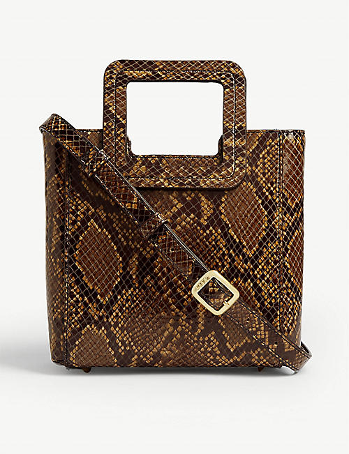 STAUD Shirley mini snake-embossed leather tote