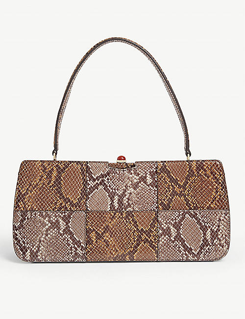 STAUD Whitney snakeskin-embossed leather shoulder bag