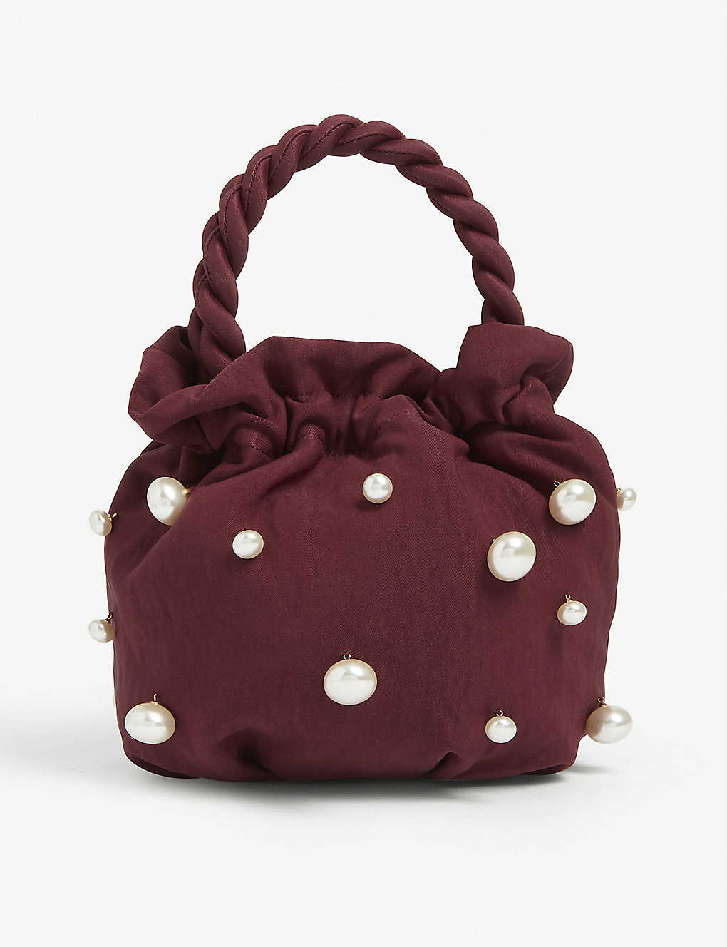 STAUD: Grace pearl-embellished satin bag