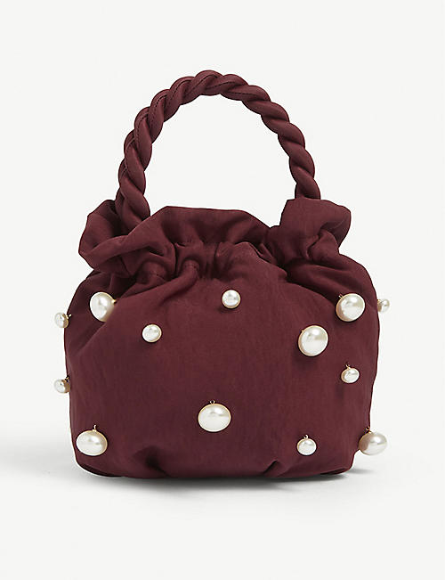 STAUD Grace pearl-embellished satin bag