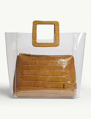 STAUD Shirley croc-embossed leather and PVC tote
