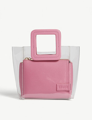 STAUD Mini Shirley PVC and leather tote
