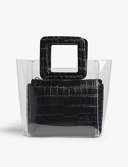 STAUD Mini Shirley croc-embossed leather and PVC tote