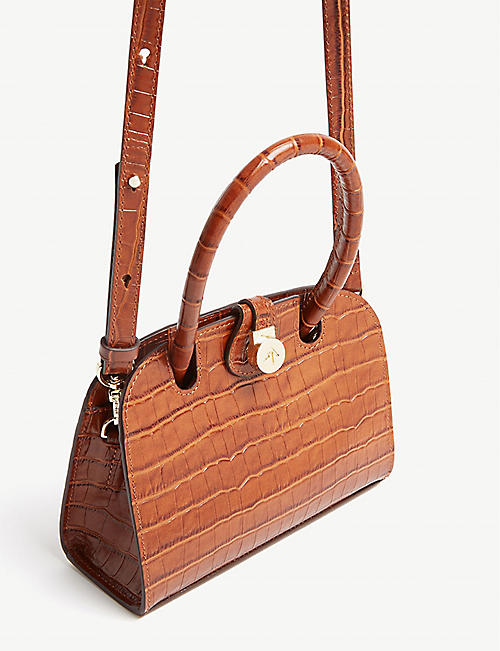 MANU ATELIER Ladybird micro croc-embossed leather cross-body bag