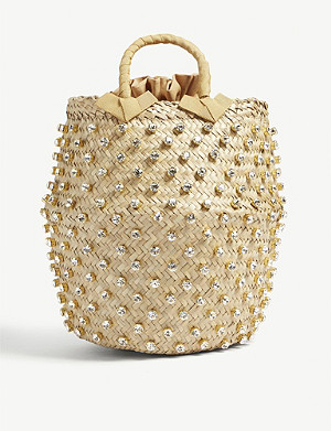 LE NINE Nina straw large bucket bag