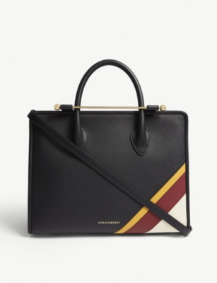 STRATHBERRY Side Stripes leather midi tote