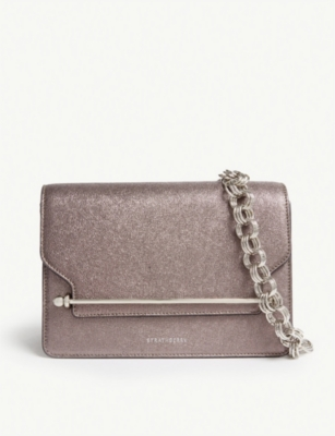 STRATHBERRY East/West metallic leather cross-body