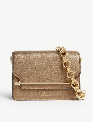 STRATHBERRY East/West mini metallic leather cross-body