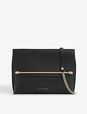 STRATHBERRY East/West leather crossbody clutch