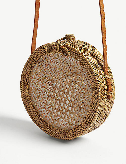 EDIT58 Raffia circle cross-body bag