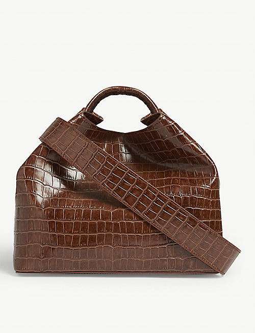 ELLEME Raisin croc-embossed leather shoulder bag